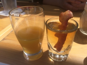 The Irish Breakfast Shot consists of OJ, Jameson and butterscotch schnapps ... with bacon.