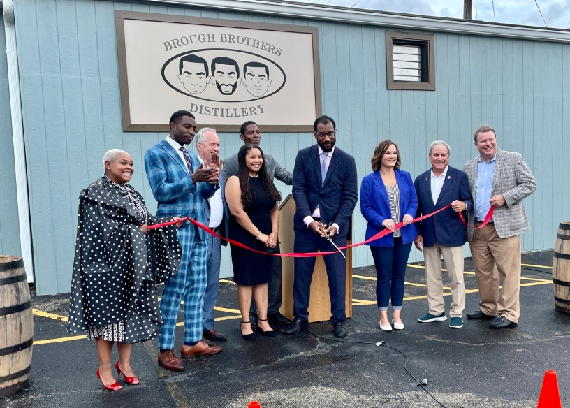 Brough Brothers ribbon cutting